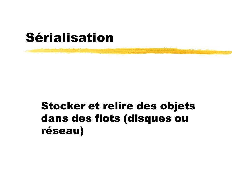 23/04/12 Sérialisation Stocker et relire des objets dans des flots (disques ou réseau)