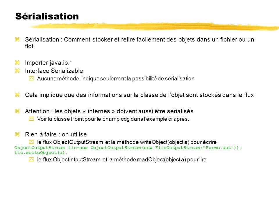 23/04/12 Sérialisation. Sérialisation : Comment stocker et relire facilement des objets dans un fichier ou un flot.