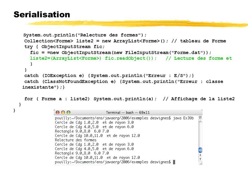 23/04/12 Serialisation. System.out.println( Relecture des formes ); Collection<Forme> liste2 = new ArrayList<Forme>(); // tableau de Forme.