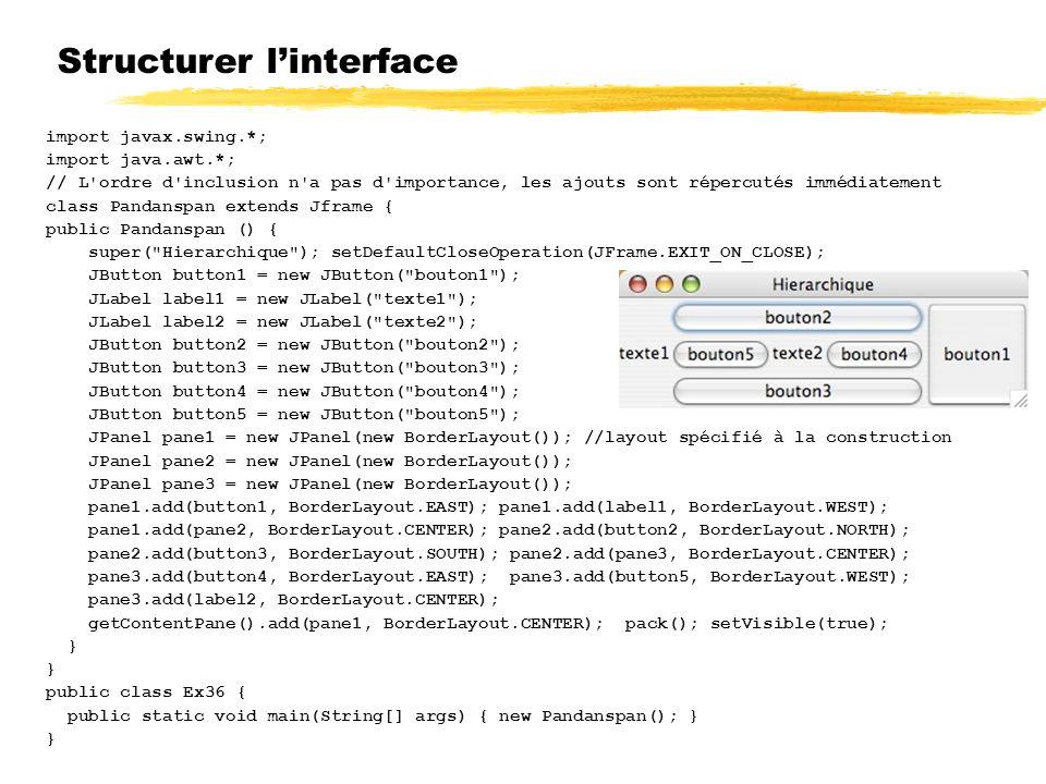 Structurer l'interface