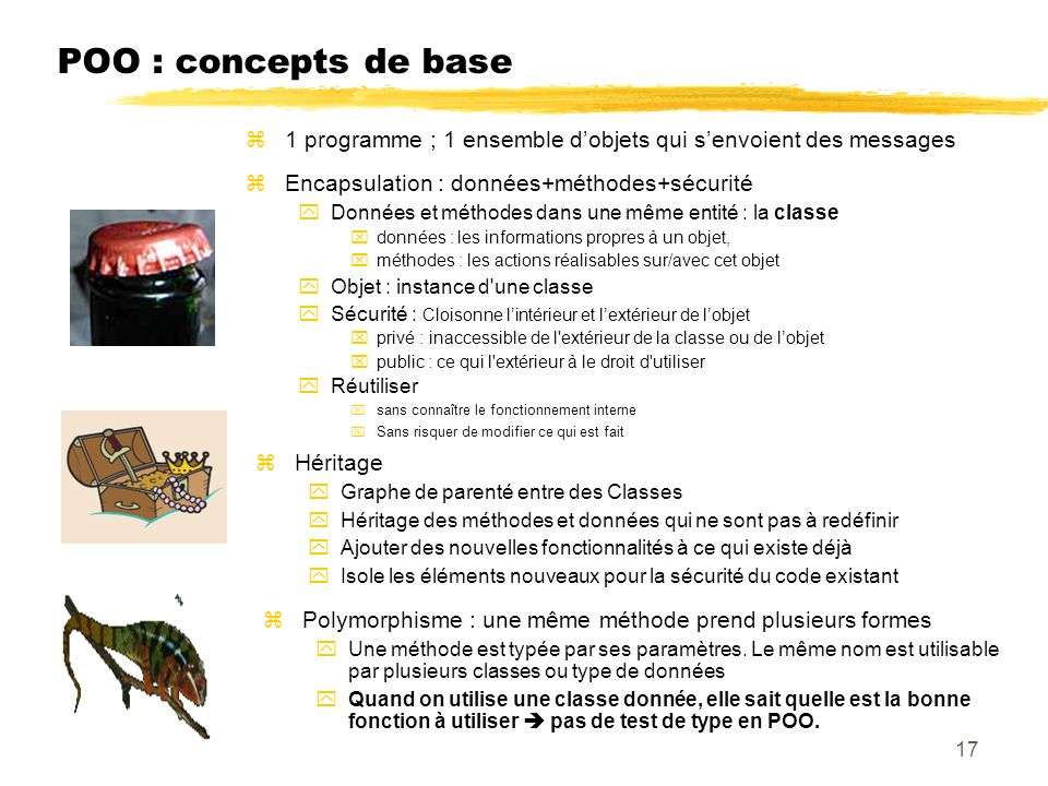 23/04/12 POO : concepts de base. 1 programme ; 1 ensemble d'objets qui s'envoient des messages. Encapsulation : données+méthodes+sécurité.