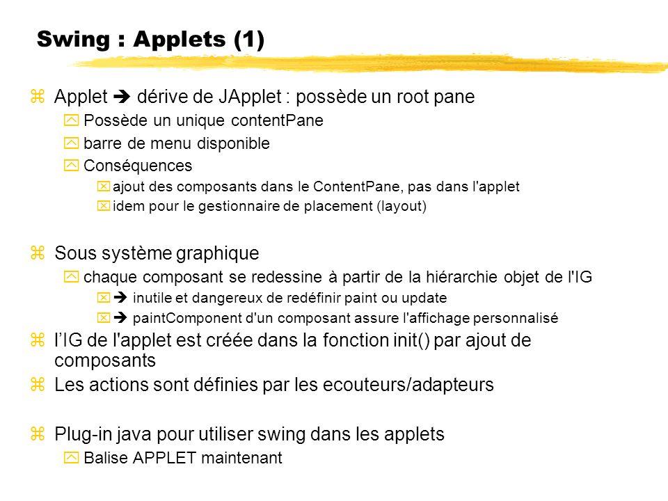 Swing : Applets (1) Applet  dérive de JApplet : possède un root pane