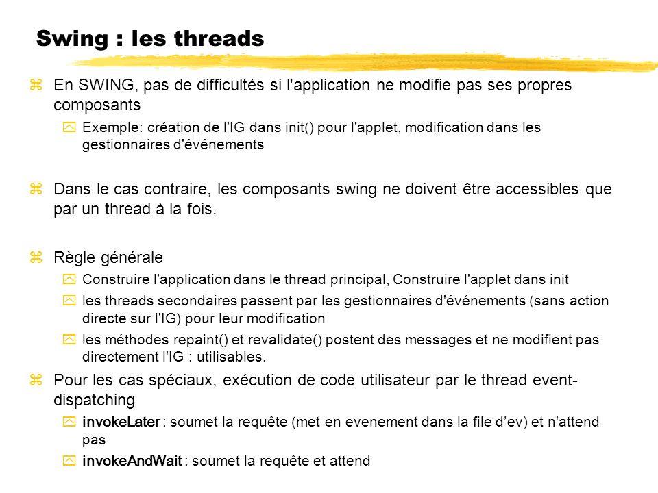 23/04/12 Swing : les threads. En SWING, pas de difficultés si l application ne modifie pas ses propres composants.