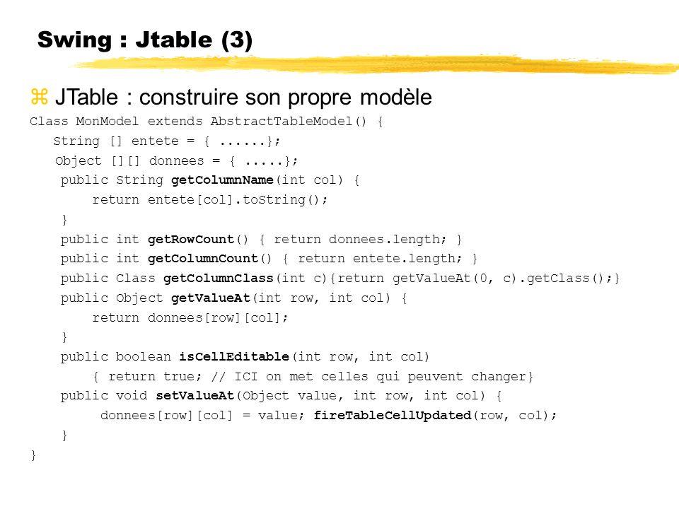 JTable : construire son propre modèle