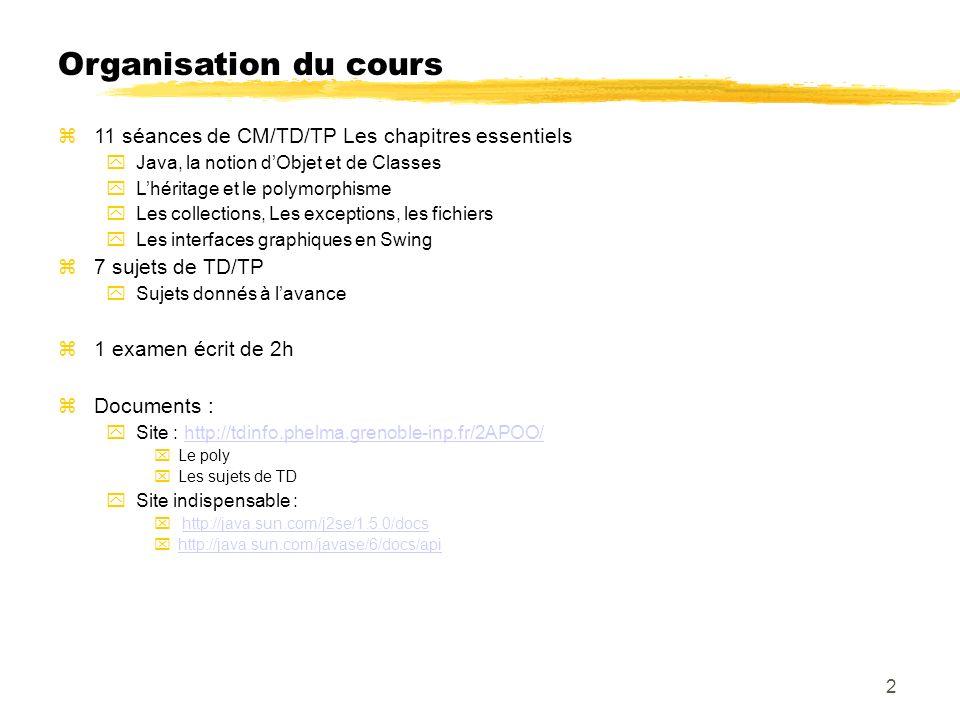 Organisation du cours 11 séances de CM/TD/TP Les chapitres essentiels