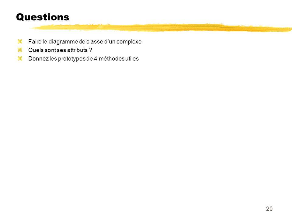 Questions Faire le diagramme de classe d'un complexe