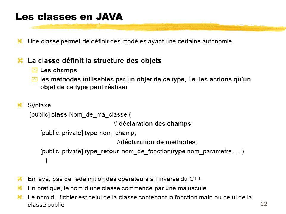 Les classes en JAVA La classe définit la structure des objets