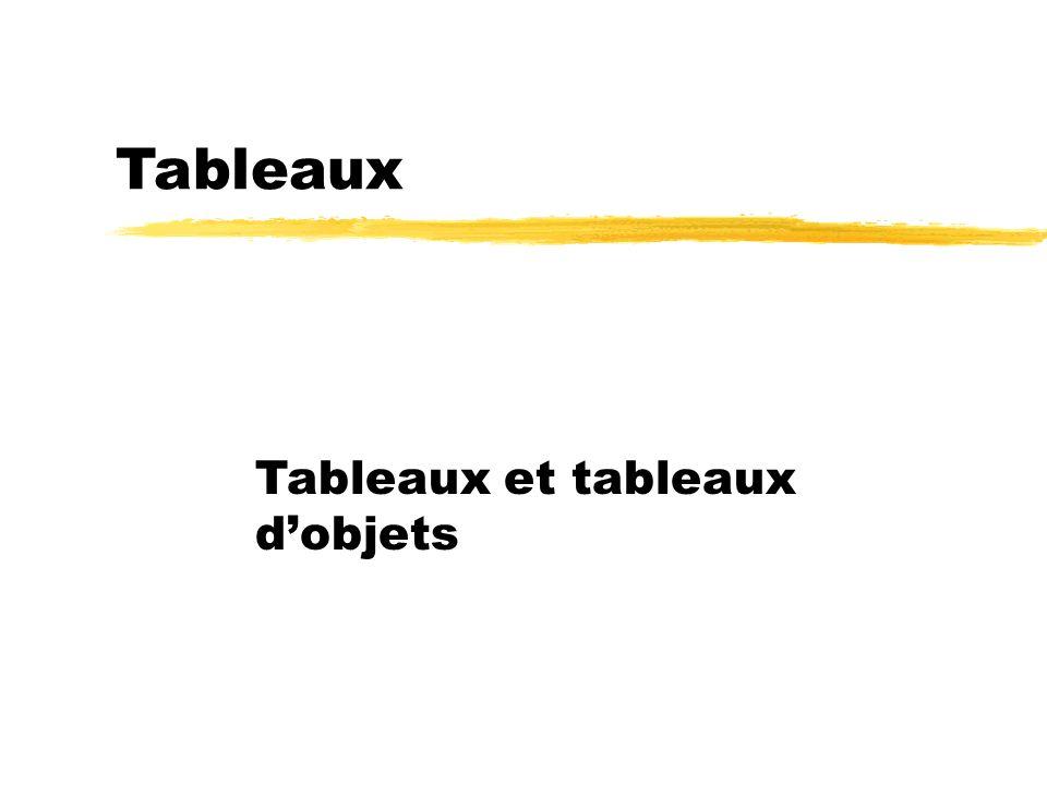23/04/12 Tableaux Tableaux et tableaux d'objets