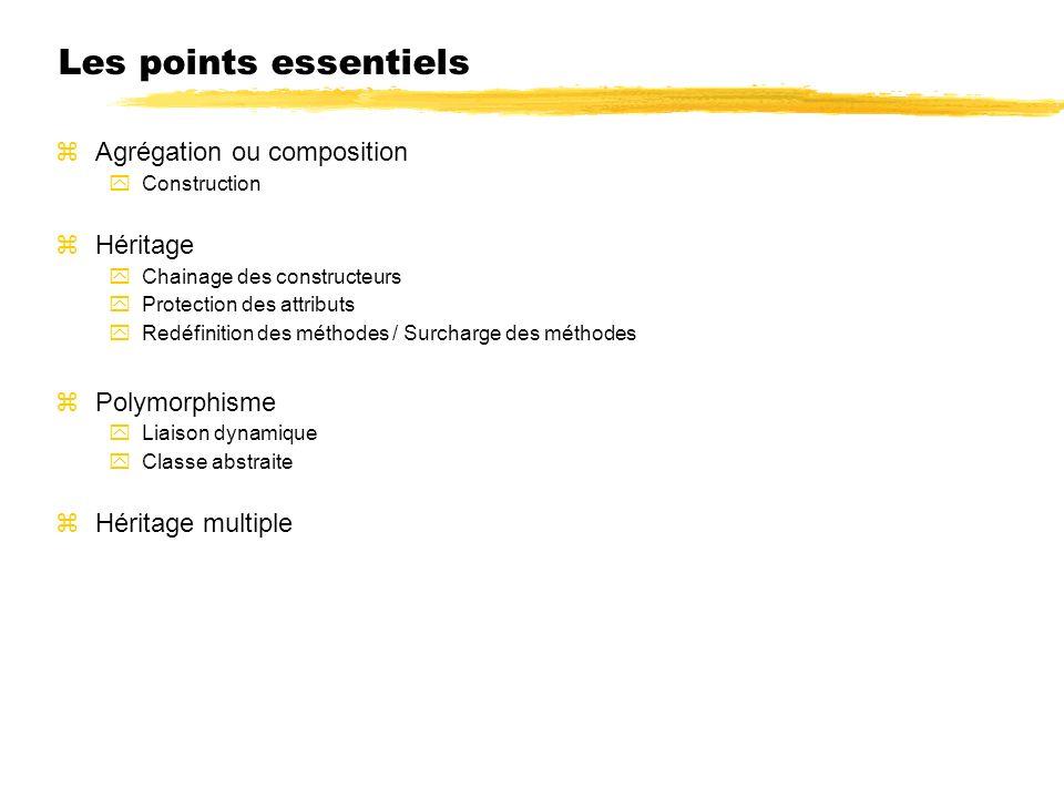 Les points essentiels Agrégation ou composition Héritage Polymorphisme