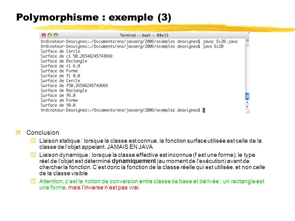 Polymorphisme : exemple (3)