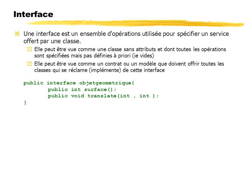 23/04/12 Interface. Une interface est un ensemble d opérations utilisée pour spécifier un service offert par une classe.