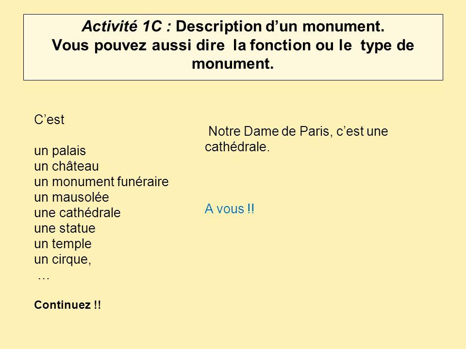 Activité 1C : Description d'un monument