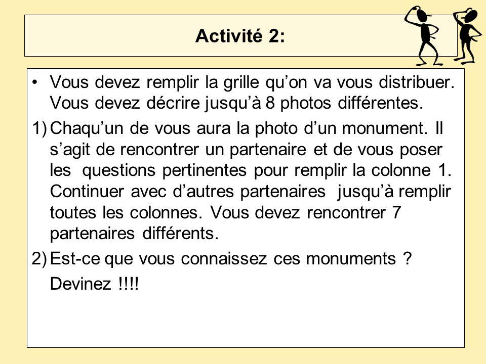 Activité 2: Vous devez remplir la grille qu'on va vous distribuer. Vous devez décrire jusqu'à 8 photos différentes.