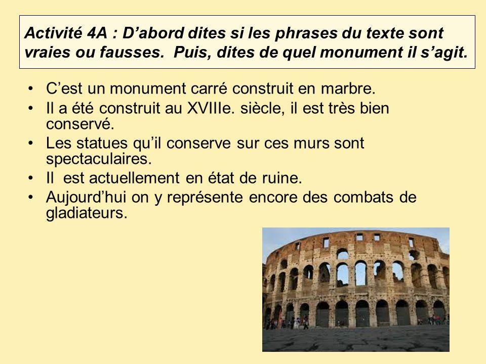 Activité 4A : D'abord dites si les phrases du texte sont vraies ou fausses. Puis, dites de quel monument il s'agit.