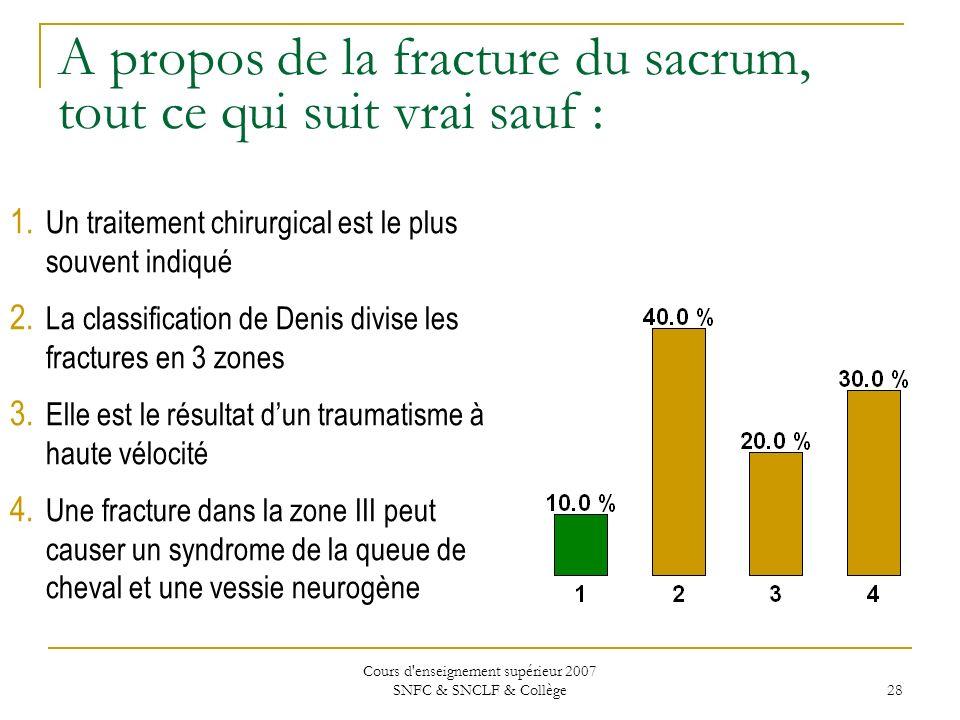 A propos de la fracture du sacrum, tout ce qui suit vrai sauf :