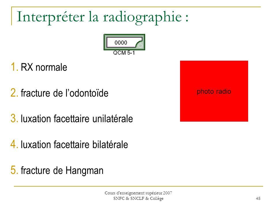 Interpréter la radiographie :