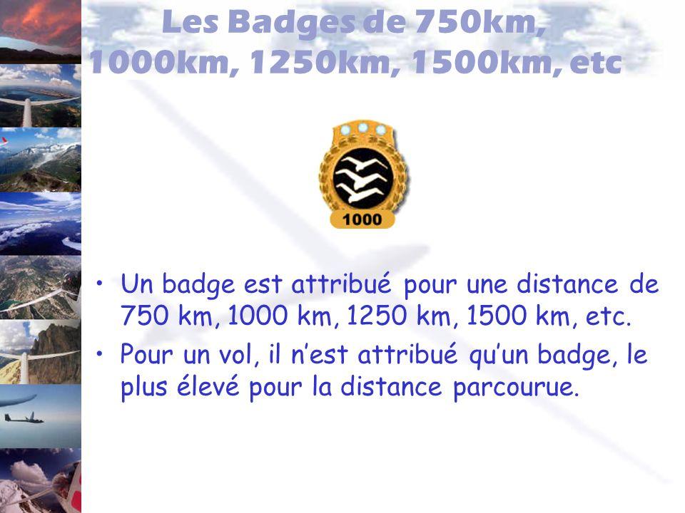 Les Badges de 750km, 1000km, 1250km, 1500km, etc