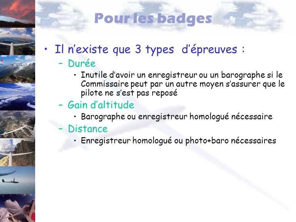 Pour les badges Il n'existe que 3 types d'épreuves : Durée