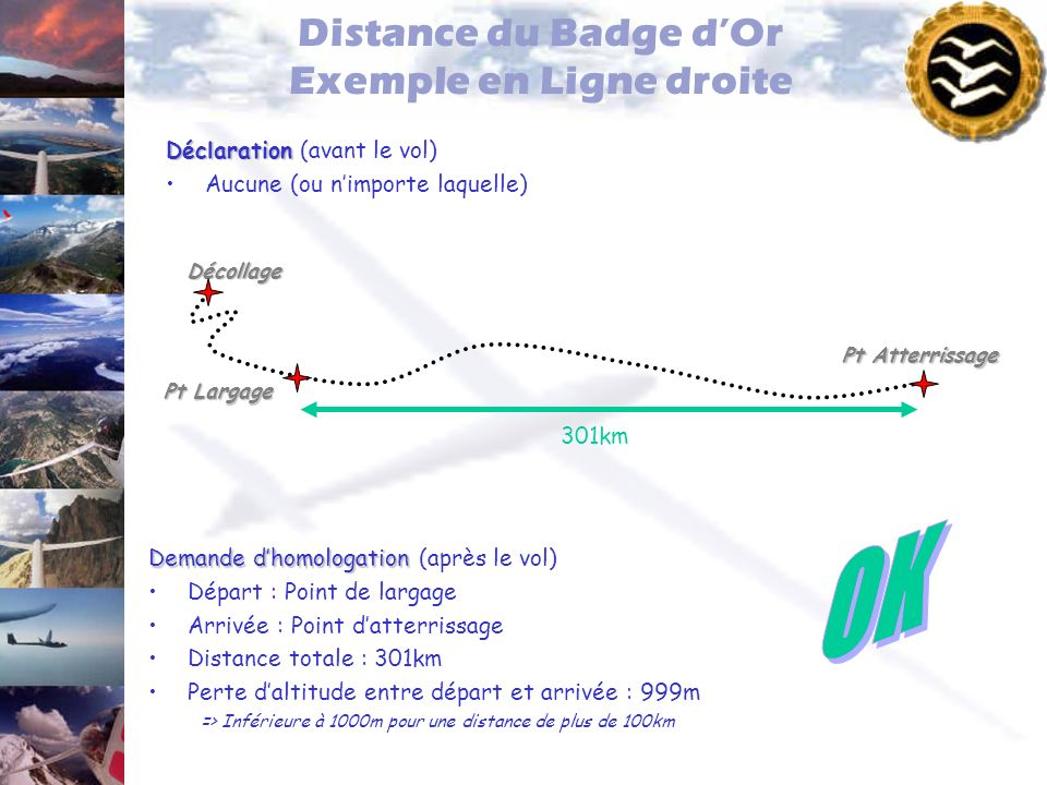 Distance du Badge d'Or Exemple en Ligne droite