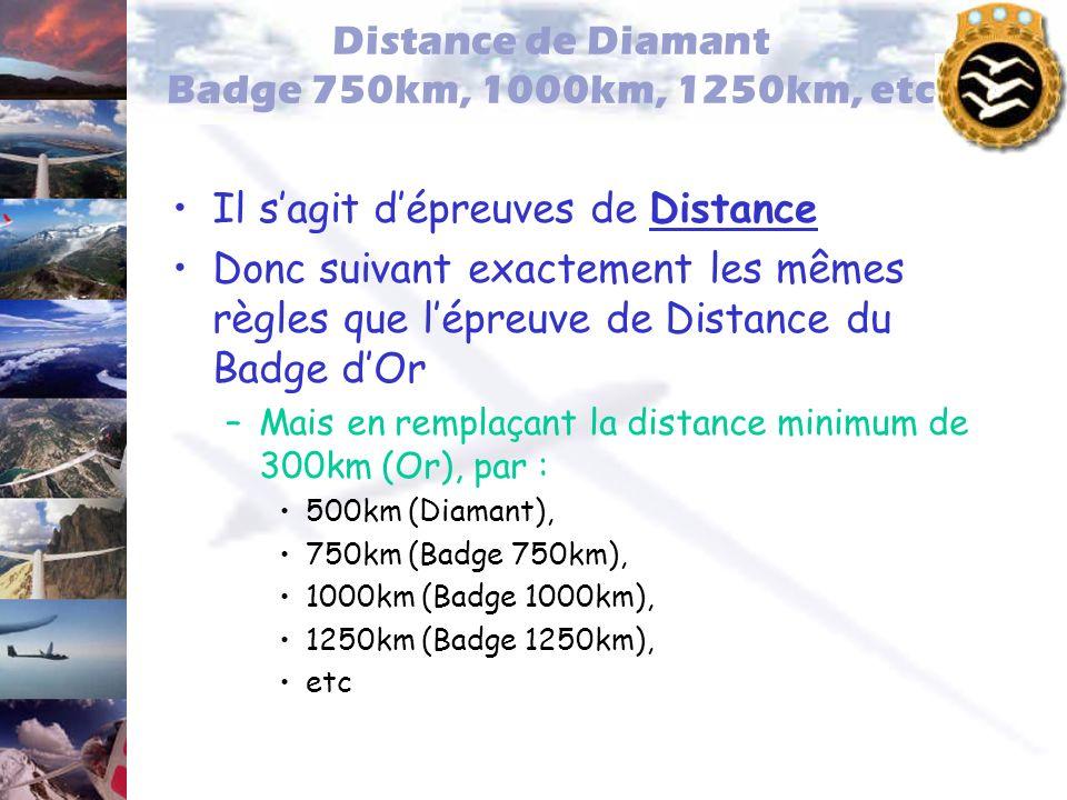 Distance de Diamant Badge 750km, 1000km, 1250km, etc