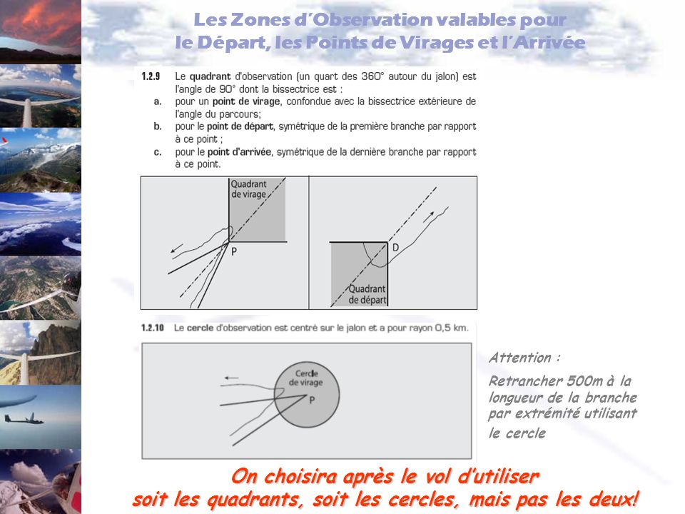 Les Zones d'Observation valables pour le Départ, les Points de Virages et l'Arrivée