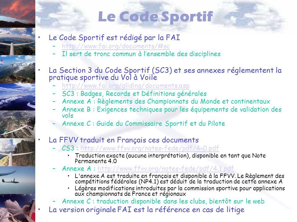 Le Code Sportif Le Code Sportif est rédigé par la FAI