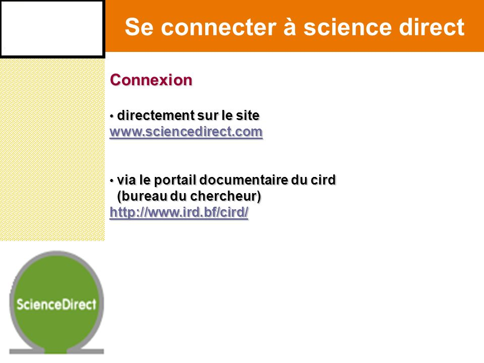 Se connecter à science direct