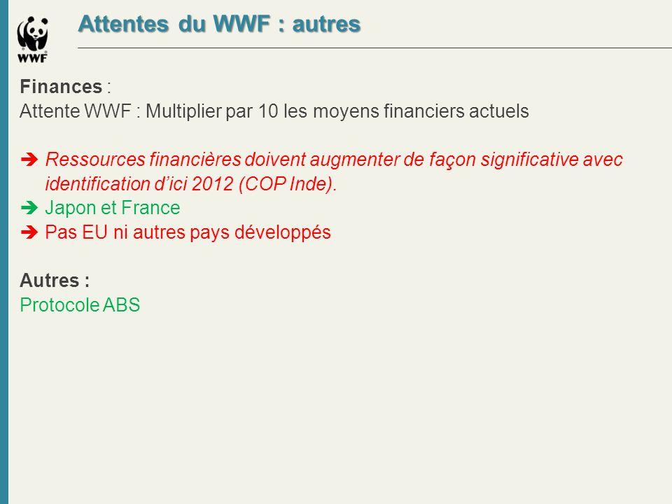 Attentes du WWF : autres