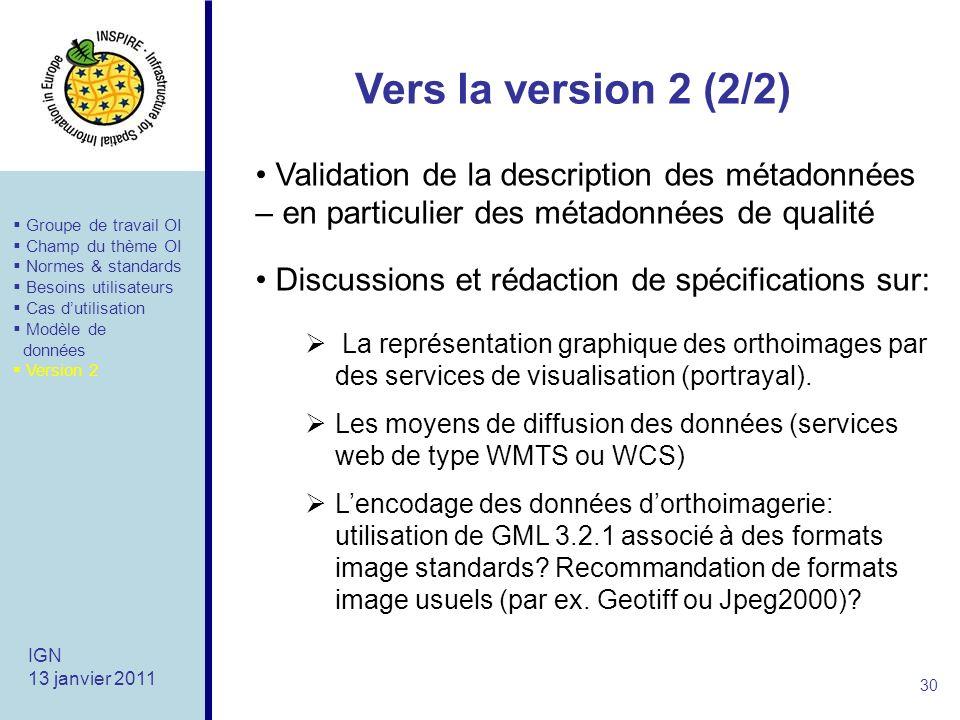 Vers la version 2 (2/2) Validation de la description des métadonnées – en particulier des métadonnées de qualité.