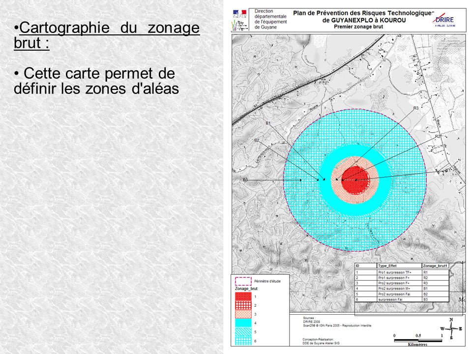 Cartographie du zonage brut :