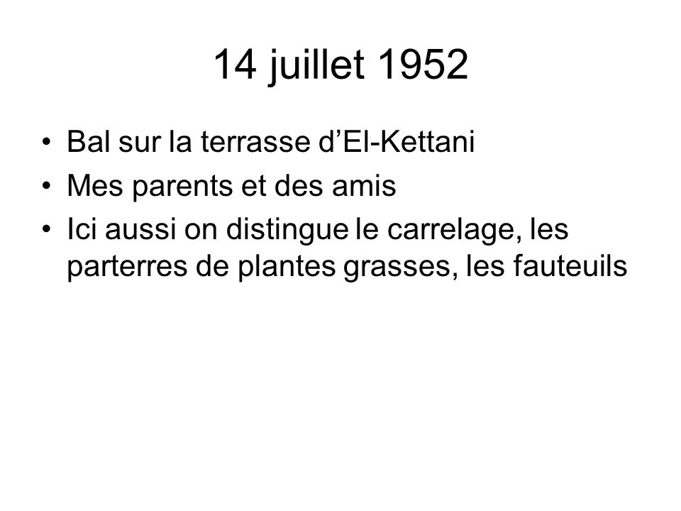 14 juillet 1952 Bal sur la terrasse d'El-Kettani