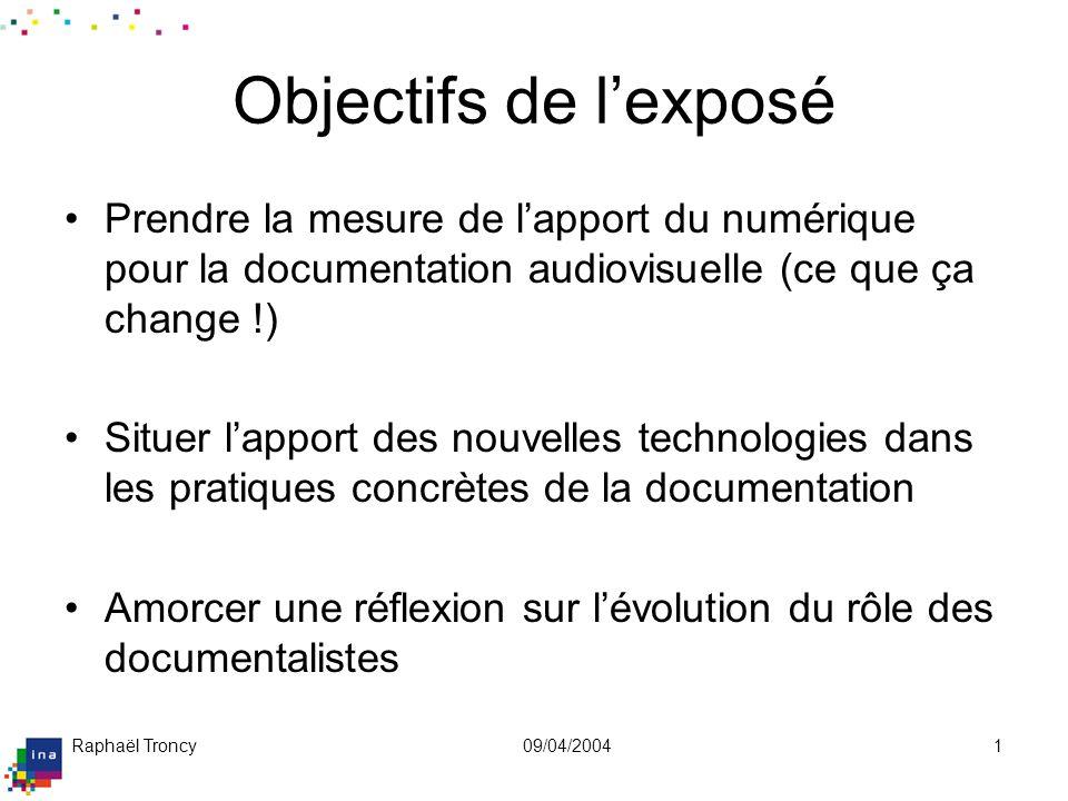 Plan de l'exposé De l'analogique au numérique : de nouvelles possibilités.