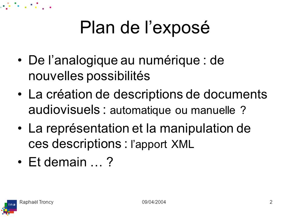 Le document AV analogique