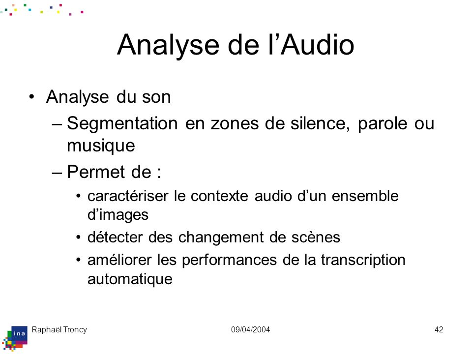 Analyse de l 'Audio (suite)