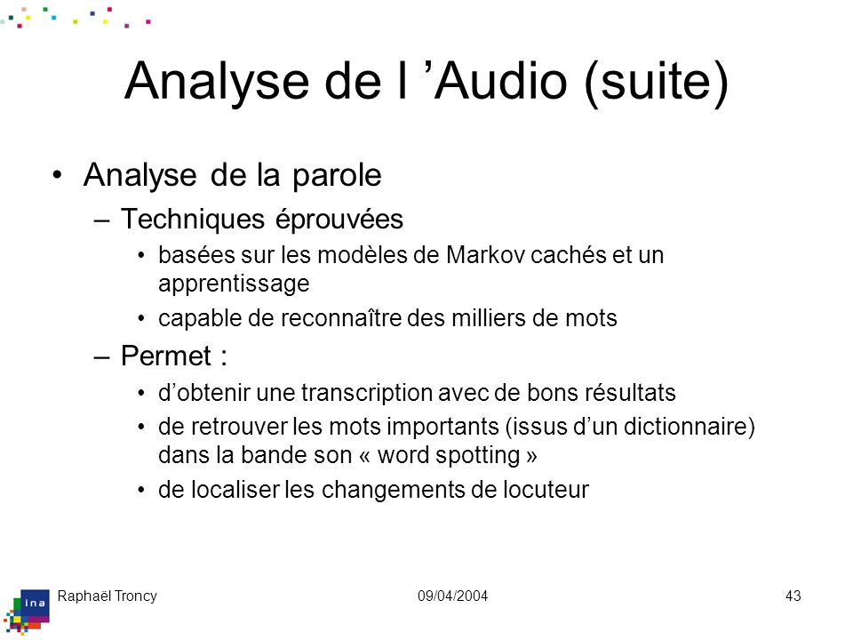 Analyse de l'Audio (suite)