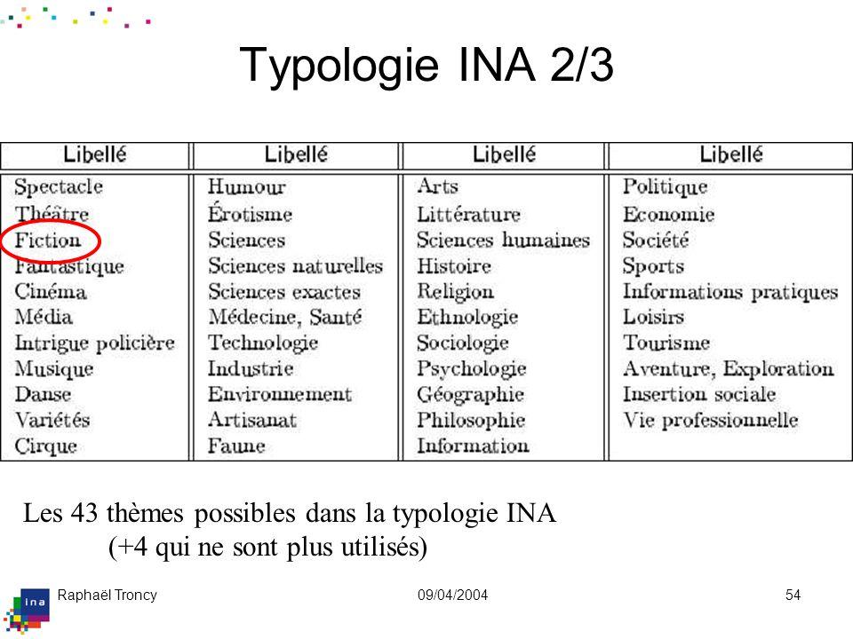 Typologie INA 3/3 Un système à facettes composé de genres et de thèmes