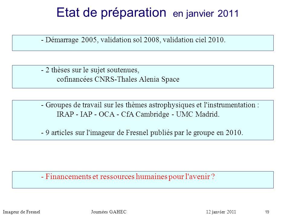 Etat de préparation en janvier 2011