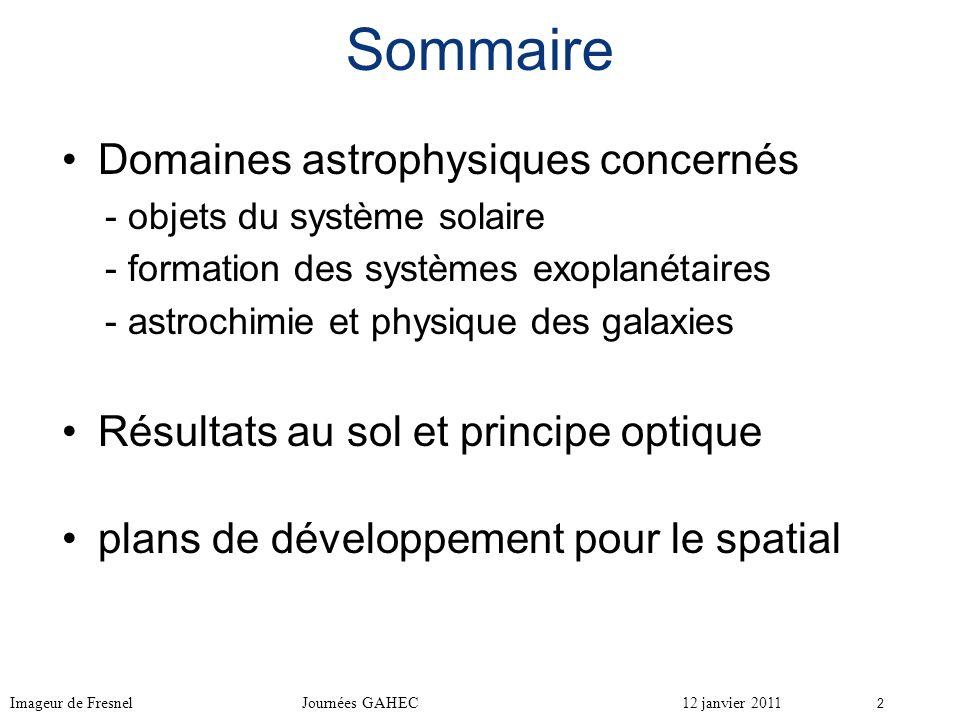 Sommaire Domaines astrophysiques concernés