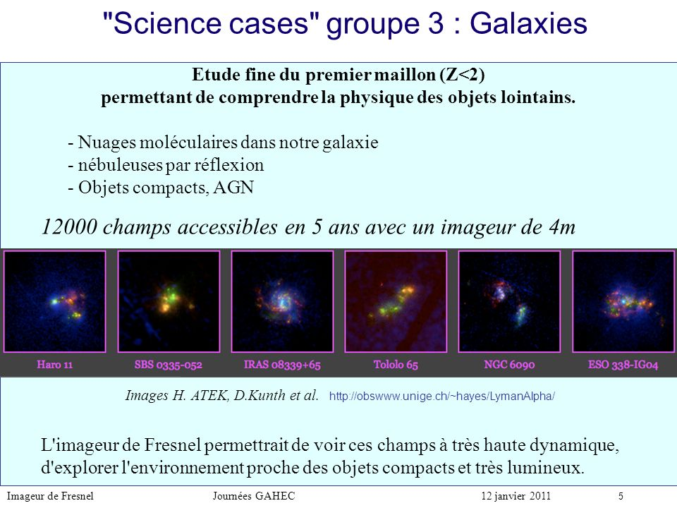 Science cases groupe 3 : Galaxies