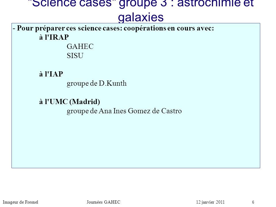 Science cases groupe 3 : astrochimie et galaxies