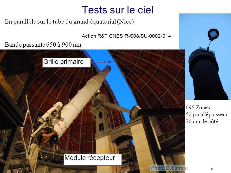 Tests sur le ciel En parallèle sur le tube du grand équatorial (Nice)