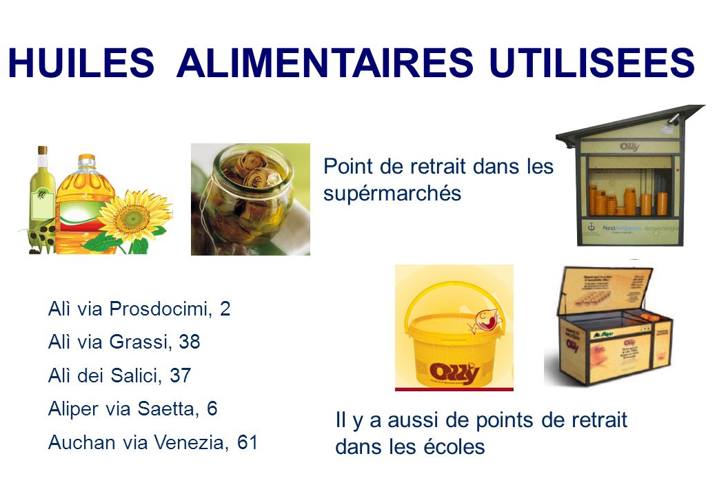 HUILES ALIMENTAIRES UTILISEES