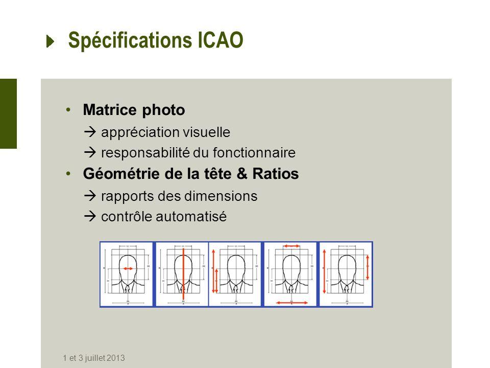 Spécifications ICAO Matrice photo Géométrie de la tête & Ratios