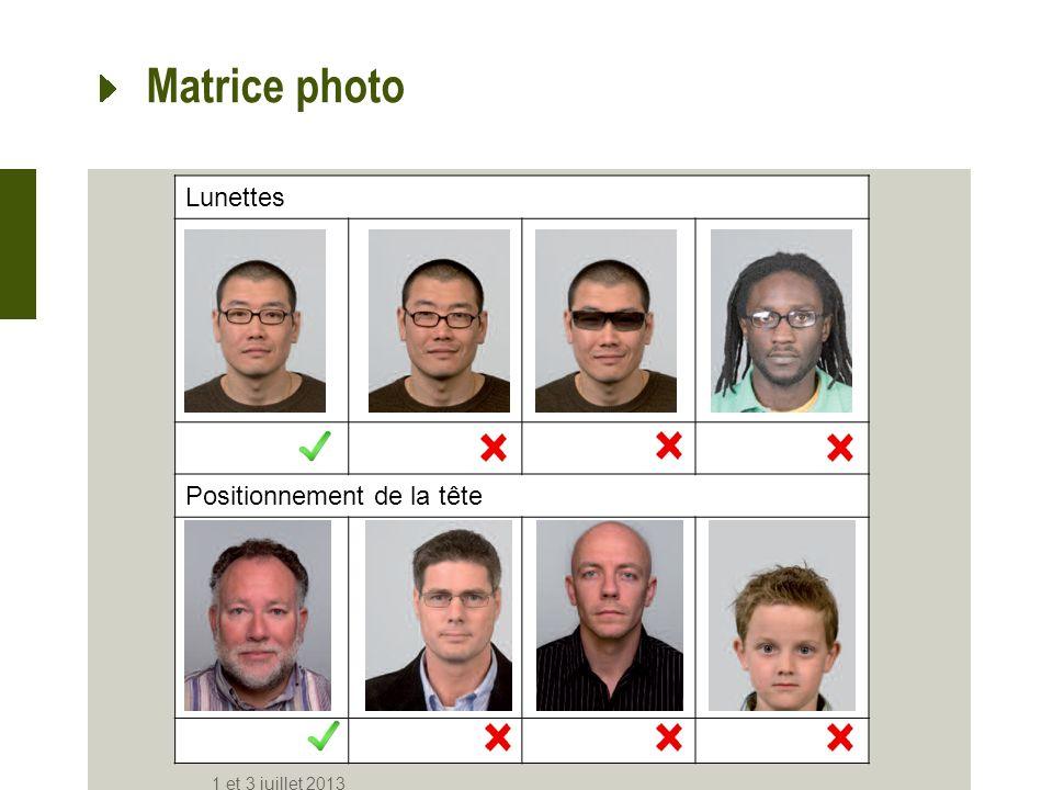 Matrice photo Lunettes Positionnement de la tête 1 et 3 juillet 2013