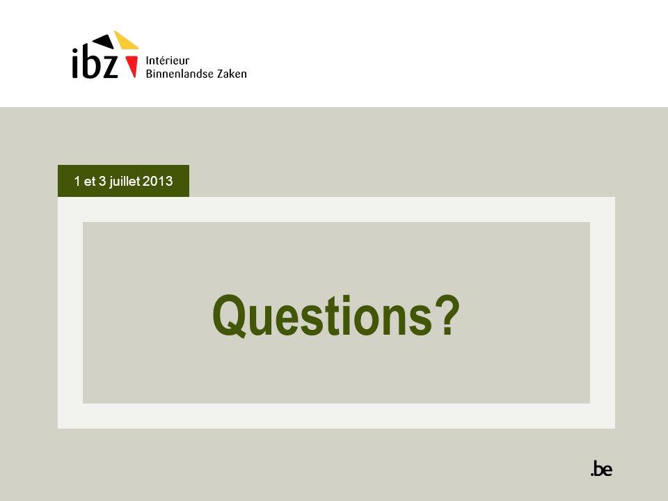 1 et 3 juillet 2013 Questions
