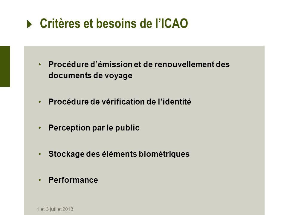 Critères et besoins de l'ICAO