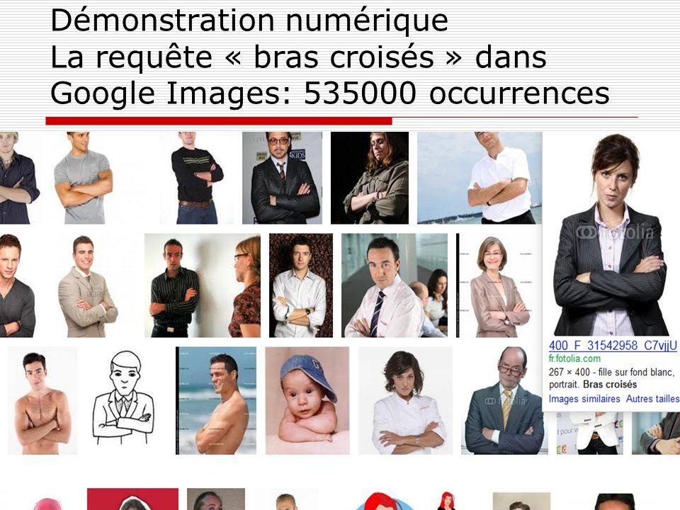 Démonstration numérique La requête « bras croisés » dans Google Images: 535000 occurrences