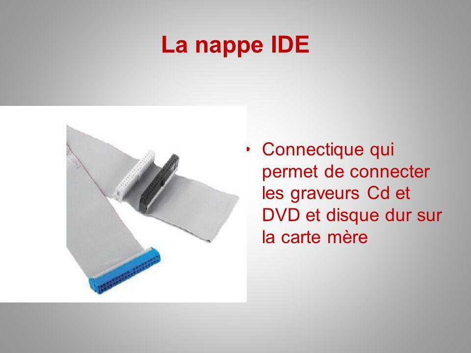 La nappe IDE Connectique qui permet de connecter les graveurs Cd et DVD et disque dur sur la carte mère.
