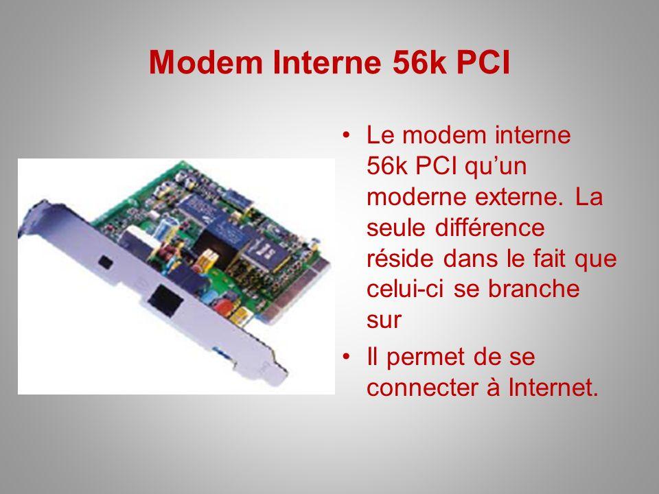 Modem Interne 56k PCI Le modem interne 56k PCI qu'un moderne externe. La seule différence réside dans le fait que celui-ci se branche sur.