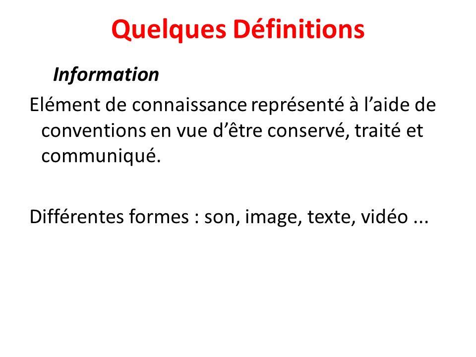 Quelques Définitions Information